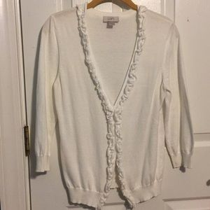 Ann Taylor LOFT Button-Down Cardigan with Ruffles